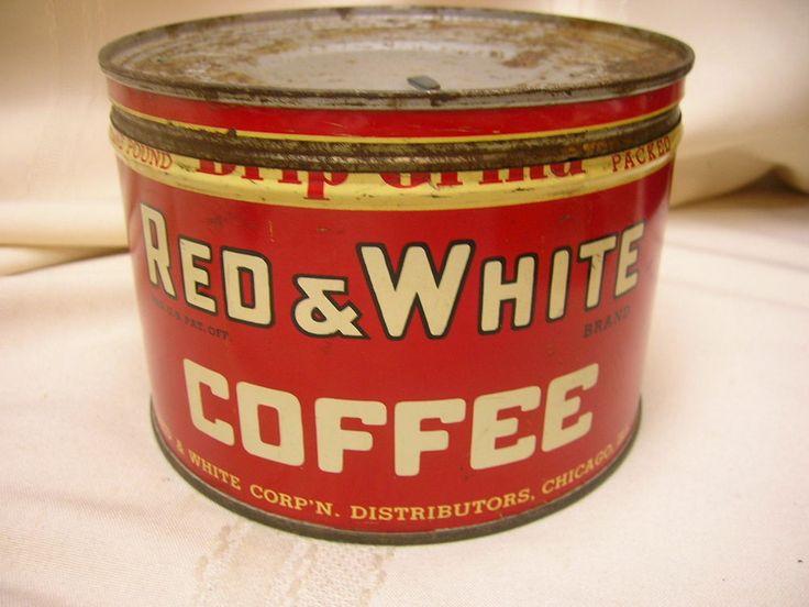 Vintage Red & White Coffee Can Chicago Ill One Pound Tin Can  #RedWhiteCoffee