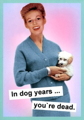 Funny birthday card by Kiss me Kwik In dog years . . . You're dead. Funny birthday card by Kiss me Kwik of Brighton - a humorous range of cards...