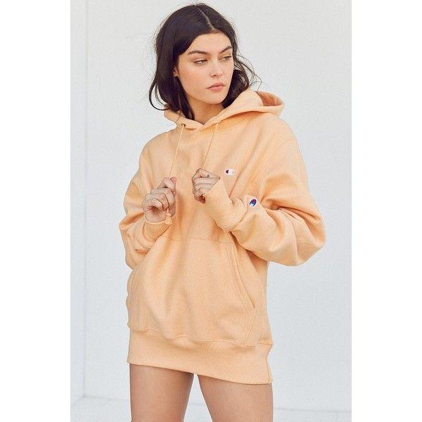 Champion & UO Reverse Weave Hoodie Sweatshirt (80 CAD) ❤ liked on Polyvore featuring tops, hoodies, reversible hoodie, beige top, sleeve top, champion hoodies and sleeve hoodie