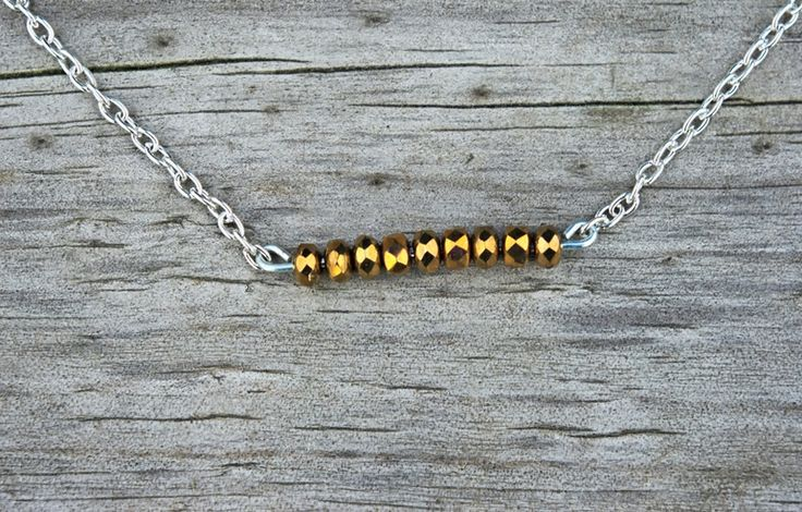 Necklaces – Bronze bar necklace - bronze jewelry, bead bar – a unique product by cityzencharms on DaWanda