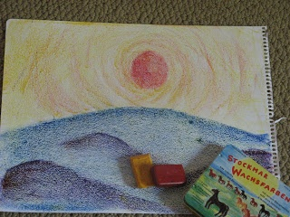 Teaching Handwork: 7th grade block crayon drawing