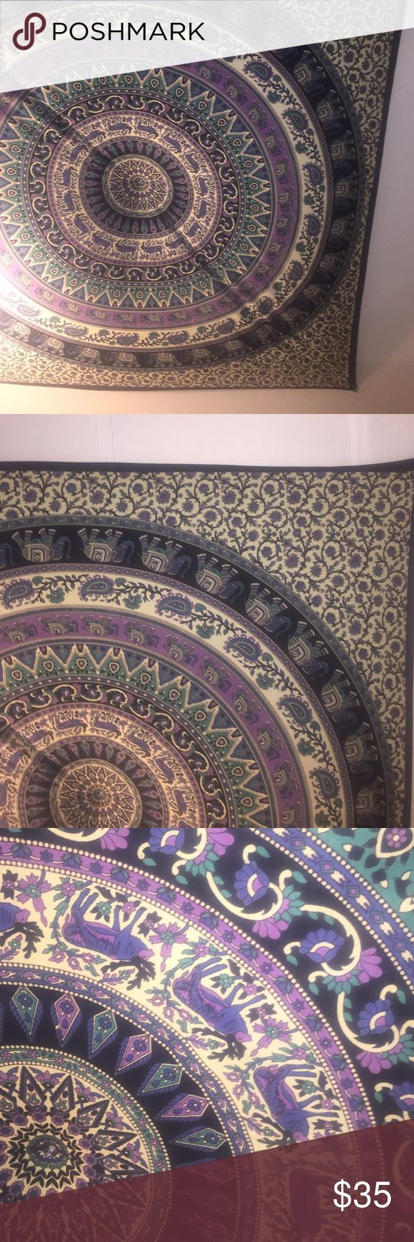 Urban outfitters tapestry Tapestry purchased at urban outfitters. Has elephants and antelopes around. Purple teal cream and black. No rips or stains. Really cool tapestry Urban Outfitters Accessories