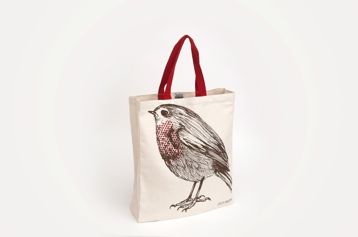 Cherith Harrison - Robin. A beautiful red-breasted robin printed on a 10oz natural canvas bag, with red handles to match, by Edinburgh designer Cherith Harrison
