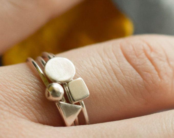 Set di 4 anelli sovrapposizione geometrica dell'argento sterlina, Anelli impilabili 1 mm argento, Torre di Anelli impilabili