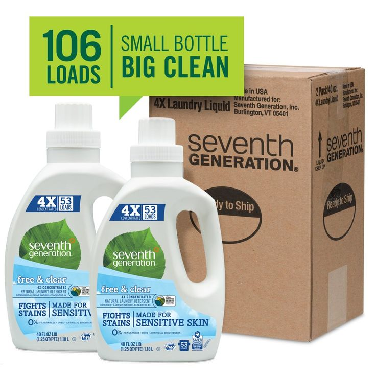 Seventh Generation Natural 4x Concentrated Laundry Detergent Free And Clear Unscented 106 Loads 4 Seventh Generation Laundry Detergent Baby Detergent Detergent