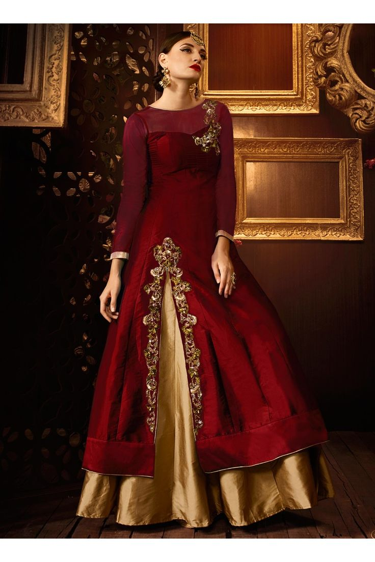Vellora Premium Color Maroon Taffeta silk Khatli Work Party Wear Anarkali suit