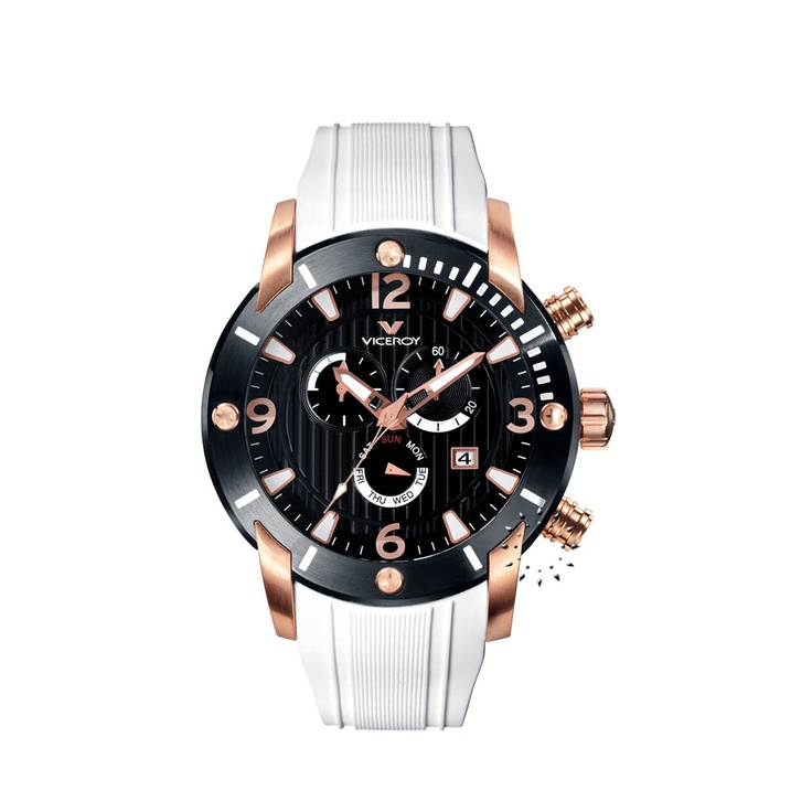 VICEROY Chronograph White Rubber Strap  235€  http://www.oroloi.gr/product_info.php?products_id=26837