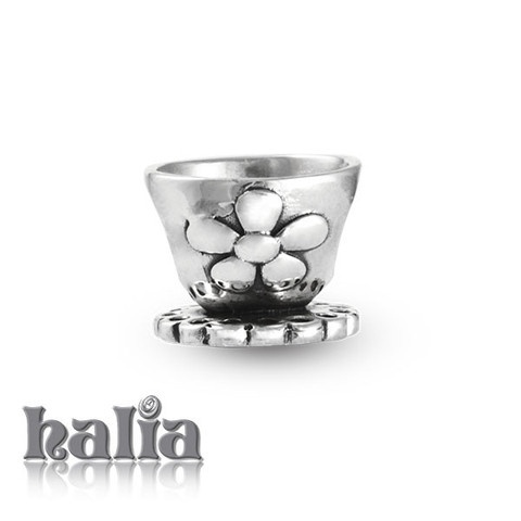 Tea Time: Flowered tea cup bead: designed exclusively by Halia, this bead fits other popular bead-style charm bracelets as well. Sterling silver, hypo-allergenic and nickel free.     $35.00