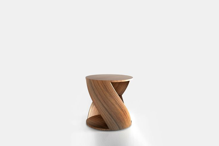 Cylindrical side table with a middle shelf, from the collection MYDNA designed by Joel Escalona. Made of wood and heavy-duty fibers. Finished in natural wood or semi-gloss lacquer. MYDNA Table Walnut #Table #Sidetable #furniture #design #nono #coolinteriors