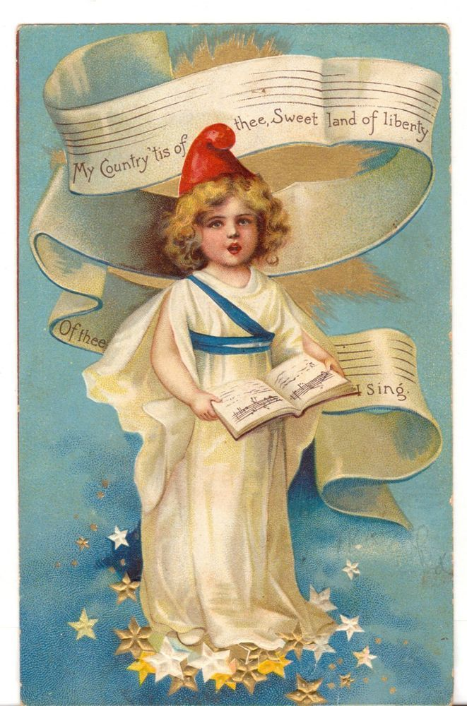 Undated Used Postcard Patriotic My Country tis of Thee Little Girl singing