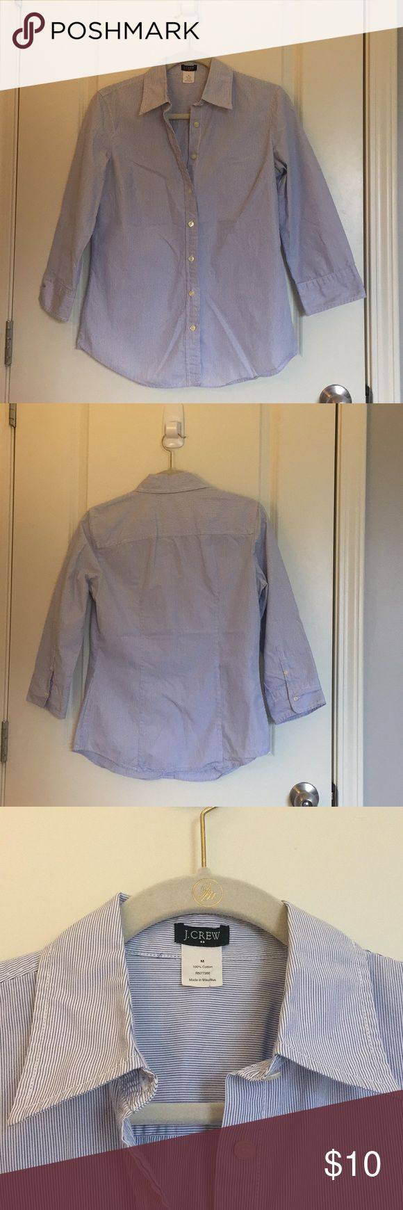 J. Crew Women's 3/4 sleeve blue-striped oxford (M) Classic, 100% cotton shirt great for work or play. EUC! J. Crew Tops Button Down Shirts