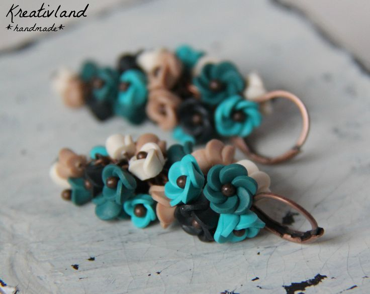Beach blues - handcrafted from polymer clay (own design)