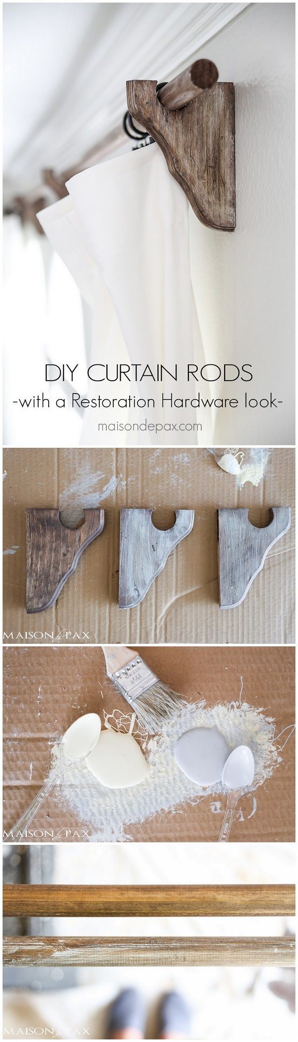 Check out this easy idea on how to make your own #DIY #farmhouse style curtain rods #wood #homedecor #project @istandarddesign