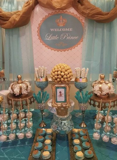 Royal Baby Shower, Little Prince Baby Shower, Royal Candy Buffet, Teal and Gold, Prince themed baby shower