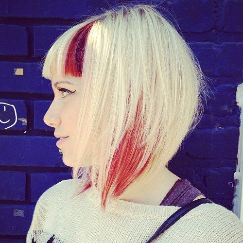 blonde choppy bob with red highlights