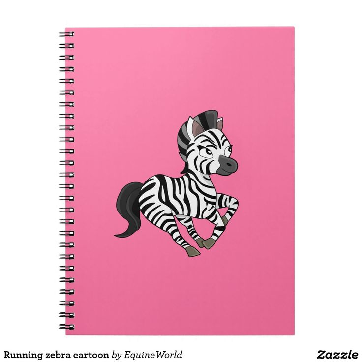 Running zebra cartoon notebook