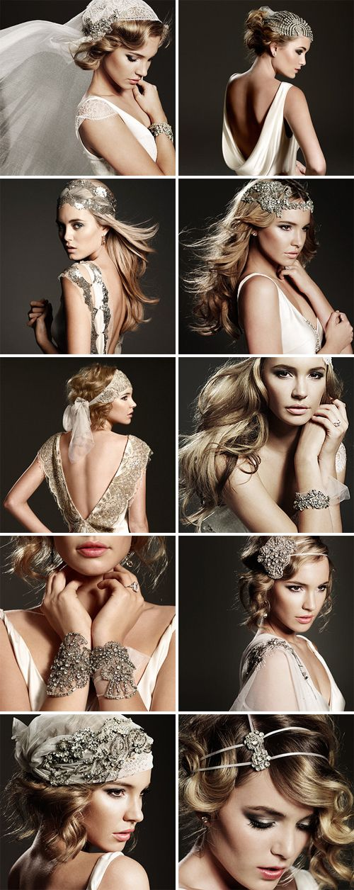 Inspired by the 20's and 30's old-world glamour era, with vintage-style gowns. Great hair styles