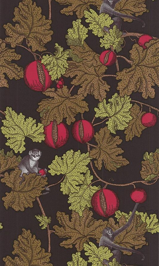 Frutto Proibito Wallpaper A Fornasetti wallpaper depicting monkeys hiding in a pomegranate tree, in tan, green and reds on a charcoal background
