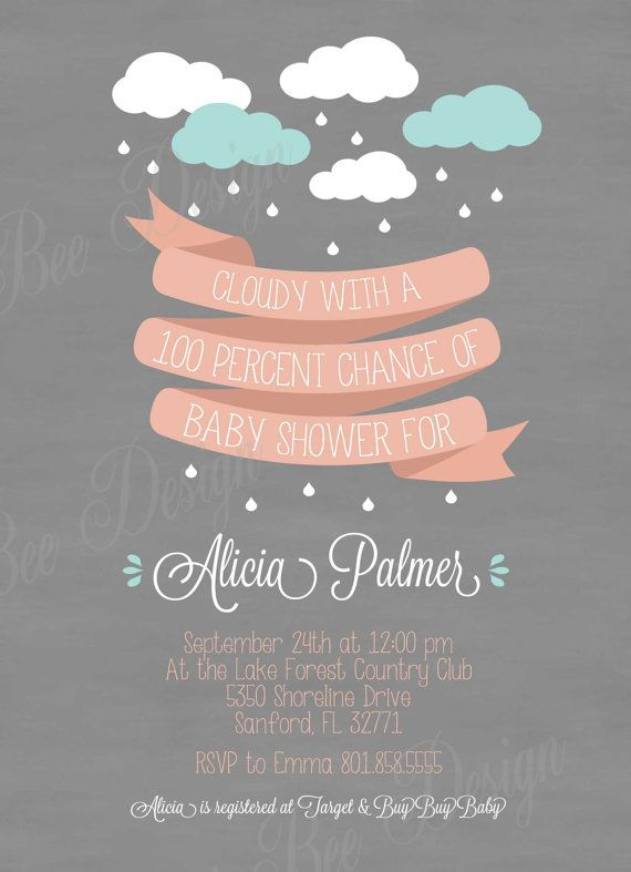 Raining Banner Baby Shower Invitation  by SweetBeeDesignShoppe, $12.00