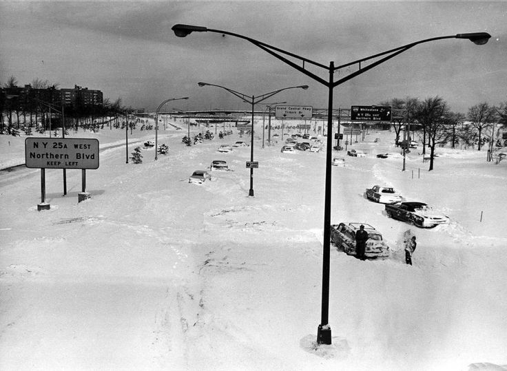 Cars stuck in snow on the Grand Central Parkway, at the Shea Stadium exit, in Queens on Feb. 10, 1969.