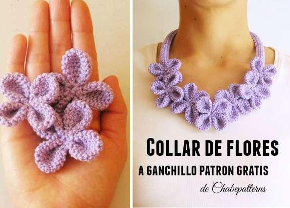 Patrones Crochet: Collar Flor 4 petalos dobles con bolitas aplastada...