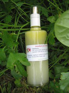 Le démêlant naturel •150 ml d'eau •2 ml de glycérine (démêle). •3 ml d'huile de ricin : permet de dissoudre l'huile et l'eau plus facilement •8 ml d'huile de jojoba : aide à démêler. C'est l'huile la plus en accord avec les cheveux, équilibrante des cheveux gras, traite aussi les cheveux secs. •10 gouttes d'extrait de pépins de pamplemousse : conservateur •5 gouttes de vitamine E : conservateur •10 gouttes HE de lavandin