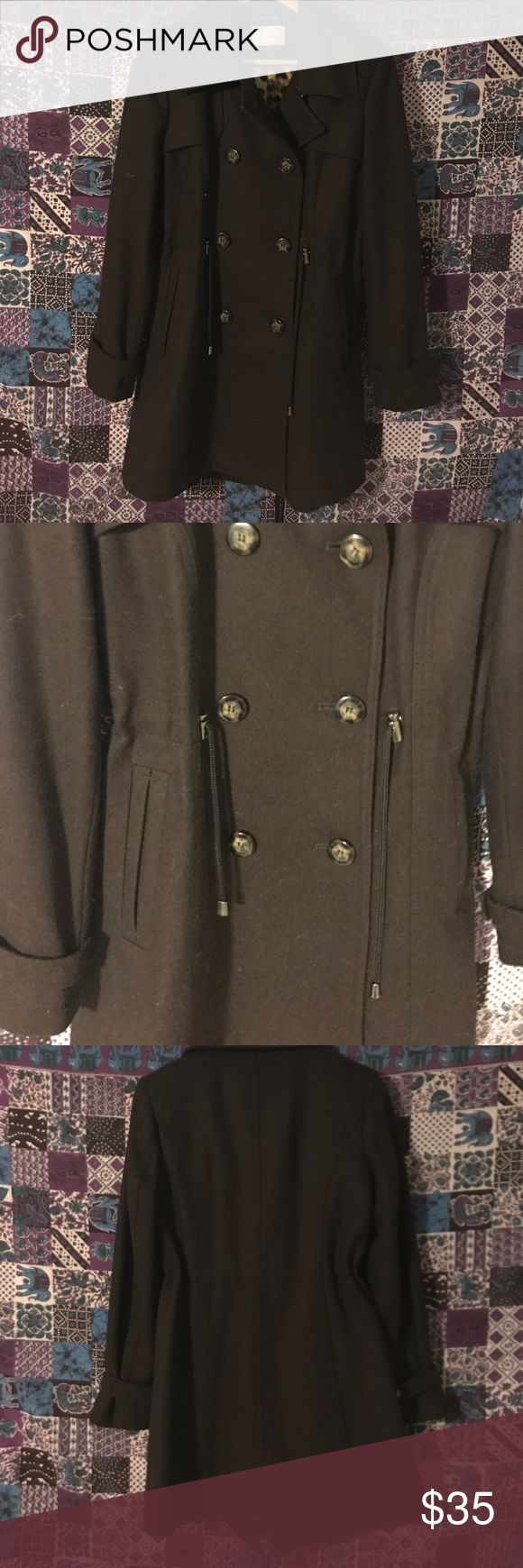 Fall Frolick Pea Coat Perfect for fall peacoat. Double button front. Dark brown. Laundry by Shelli Segal. Fits like xs-sm. Size tag removed inside for comfort. Good condition with general wear. Sorry no modeling or trades. Bundle for a discount. Laundry By Shelli Segal Jackets & Coats Pea Coats