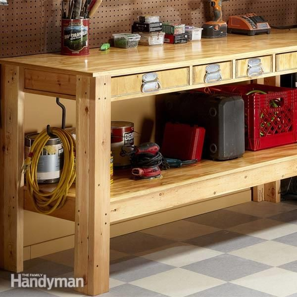 Use this simple workbench plan to build a sturdy, tough workbench that'll last for decades. It has drawers and shelves for tool storage. It's inexpensive. And even a novice can build it in one day.