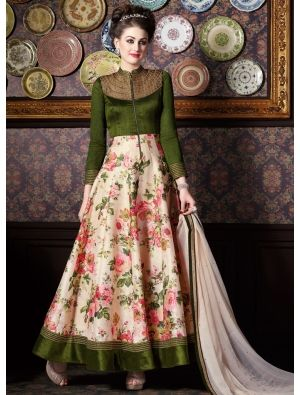 Olive Green And Multi Color Floral Printed Salwar Kameez