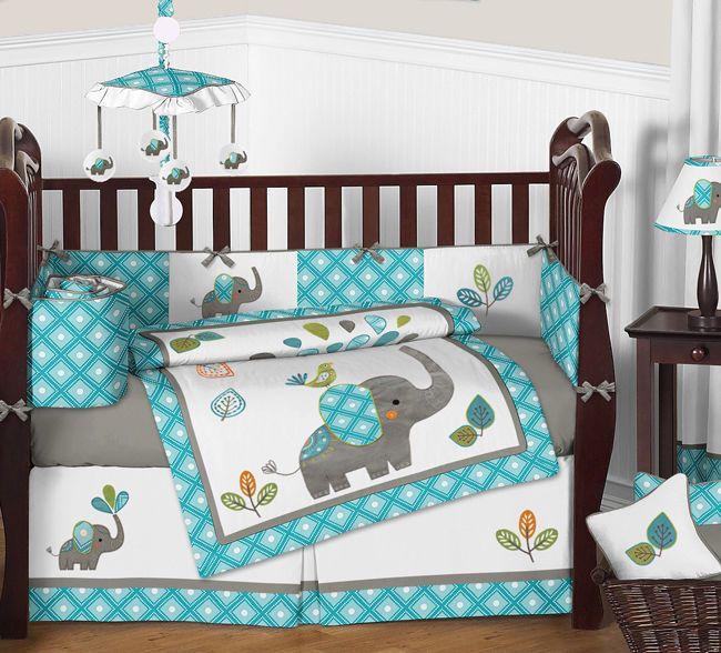 Azul Turquesa y Gris Dulce Jojo Selva Elefante Para Bebé Cuna del lecho del | Bebés, Ropa de cama para niños, Juegos de ropa de cama para niños | eBay!