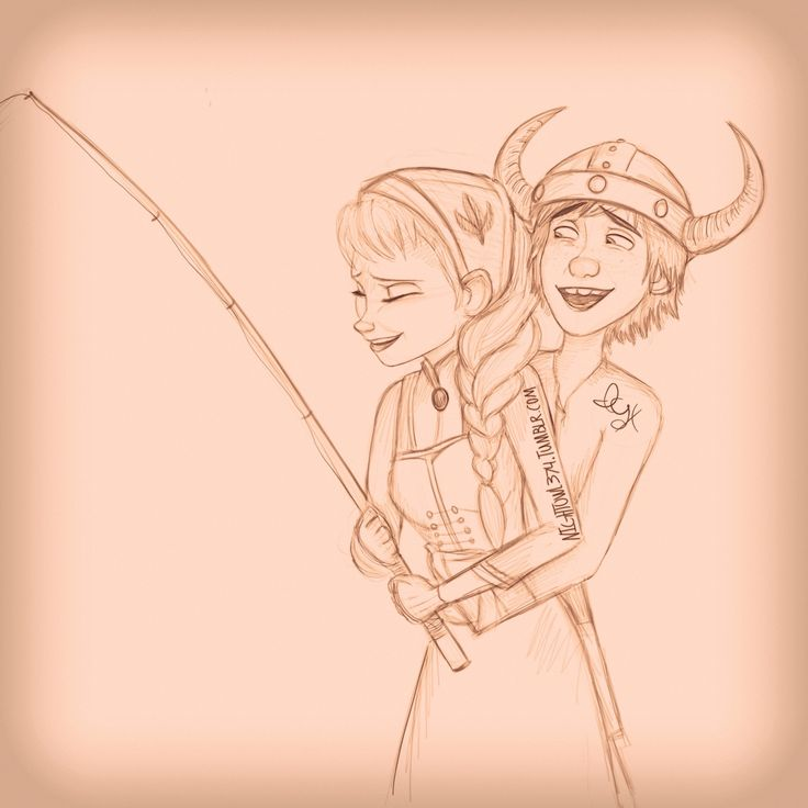 16 year old Hiccup and Elsa Hiccup decided to teach Elsa how to fish He started tickling her when she got discouraged about not catching anything yet I just love these two