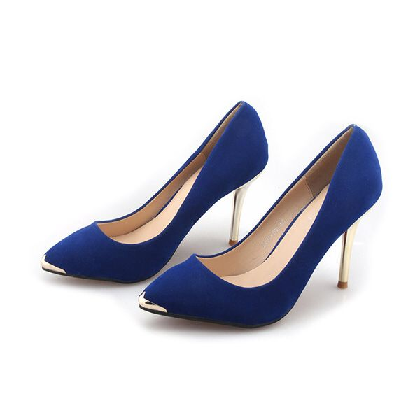 Midnight blue heels with golden tip and heel.
