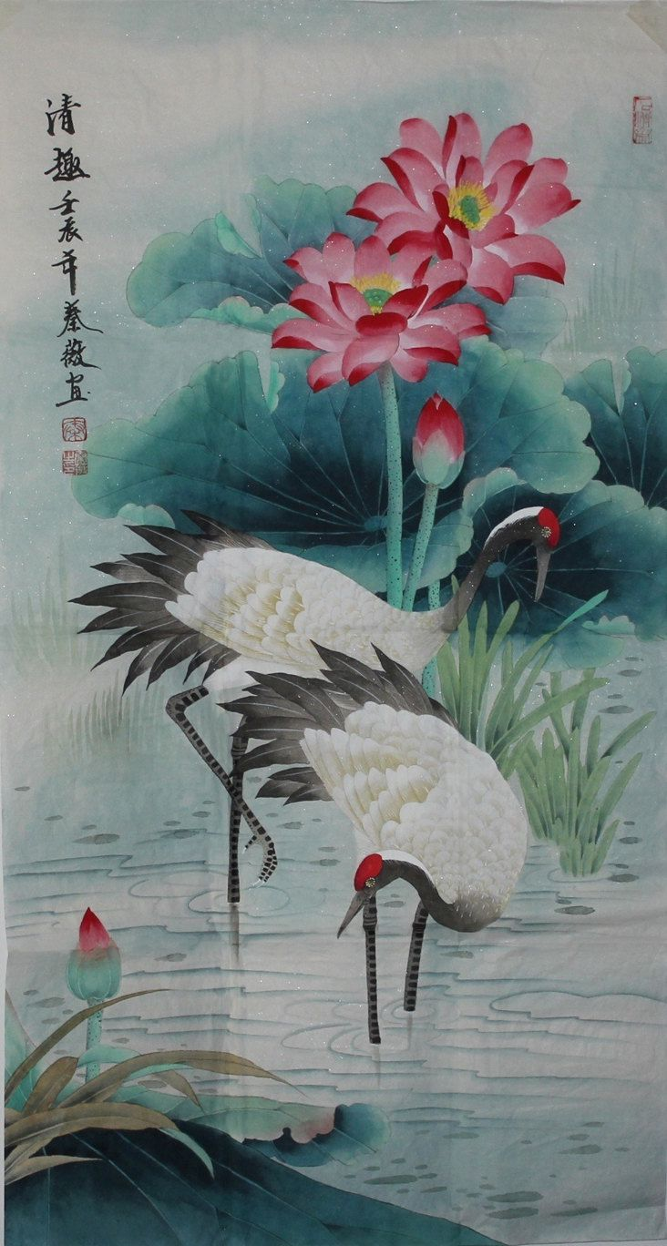 Watercolor art history brush - Cranes In Lotus Pond Original Mounted Asian Oriental Art Chinese Brush Bird Watercolor Painting 176