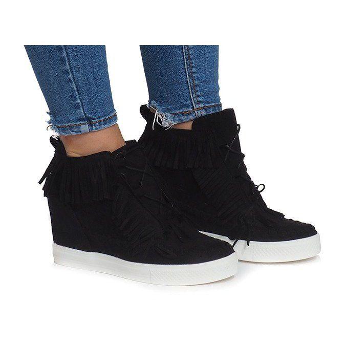 Sneakersy Na Koturnie Z Fredzlami Boho At 0613 1 Czarny Czarne Boho Fashion Wedge Sneakers Trainers Women