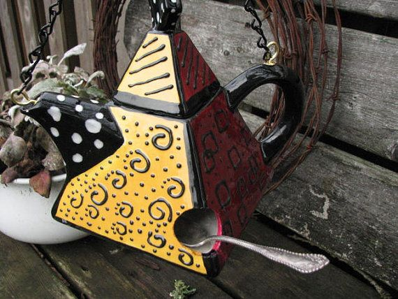 Funky Modern Teapot Birdhouse with Spoon Pearch by LovinTheWhimsy