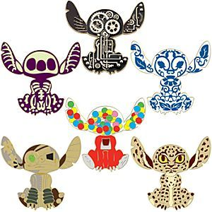 Disney Variations of Stitch Pin Set -- 6-Pc. | Disney StoreVariations of Stitch Pin Set -- 6-Pc. - Experiment 626 has undergone six different experiments in design on this Variations of Stitch Pin Set. He's been transformed into everything from a gumball machine to a skeleton on our novel set of Disney pins!
