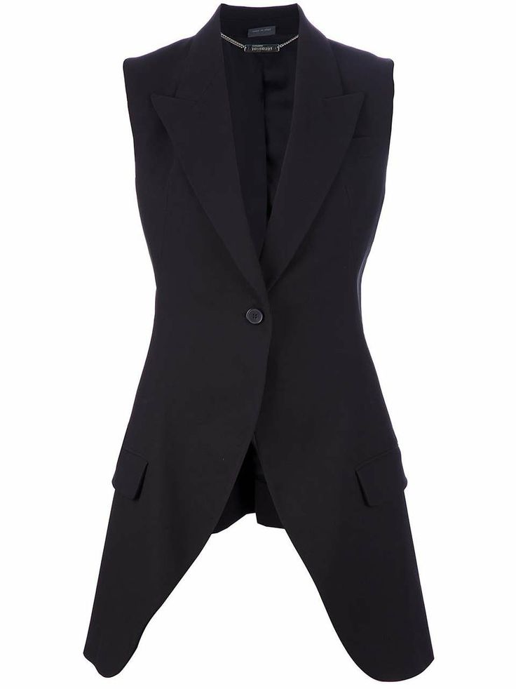 Love the Alexander Mcqueen Vintage long waistcoat on Wantering | Gifts for Her | womens long waistcoat | womens vest | style | fashion | black | wantering http://www.wantering.com/womens-clothing-item/long-waistcoat/aaOEI/