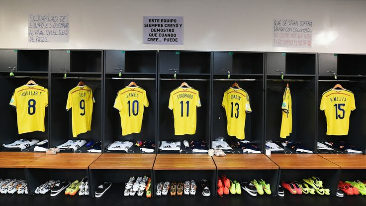 Colombia shirts hang in the dressing room