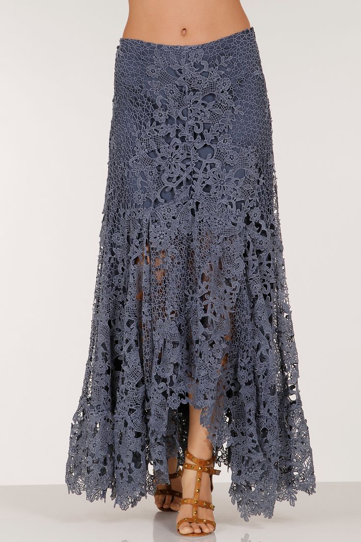 Add a touch of romance to your wardrobe when you slip on this feminine lace maxi skirt with a distinctive hi-lo flutter hem and a hidden side zip. It