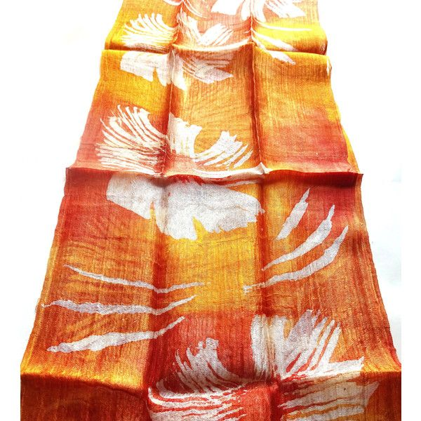 Orange Silk Scarf Hand Dyed Handwoven Light Weight Batik Natural Pure Raw Silk Wedding Accessories Handmade Wedding Gift For Her (€15) found on Polyvore featuring women's fashion, accessories, scarves, silk scarves, silk shawl, batik scarves, orange scarves and orange silk scarves