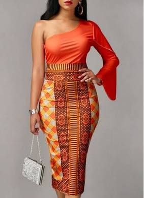 rotita Modern African Fashion One Sleeve Bodycon Midi Dress Orange ...