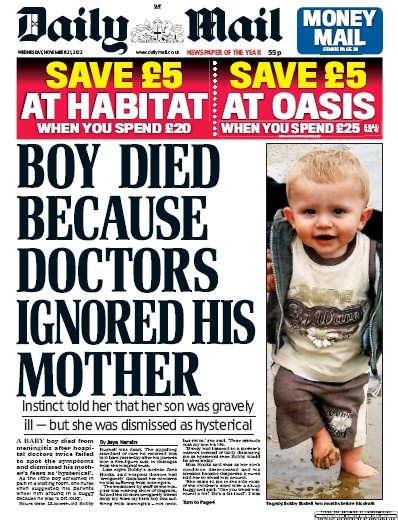 13-month-old Bobby Bushell died from meningitis because doctors ignored his mother: Instinct told her that her son was gravely ill - but she was dismissed as hysterical.     Is this another example of how the NHS are failing patients and families?