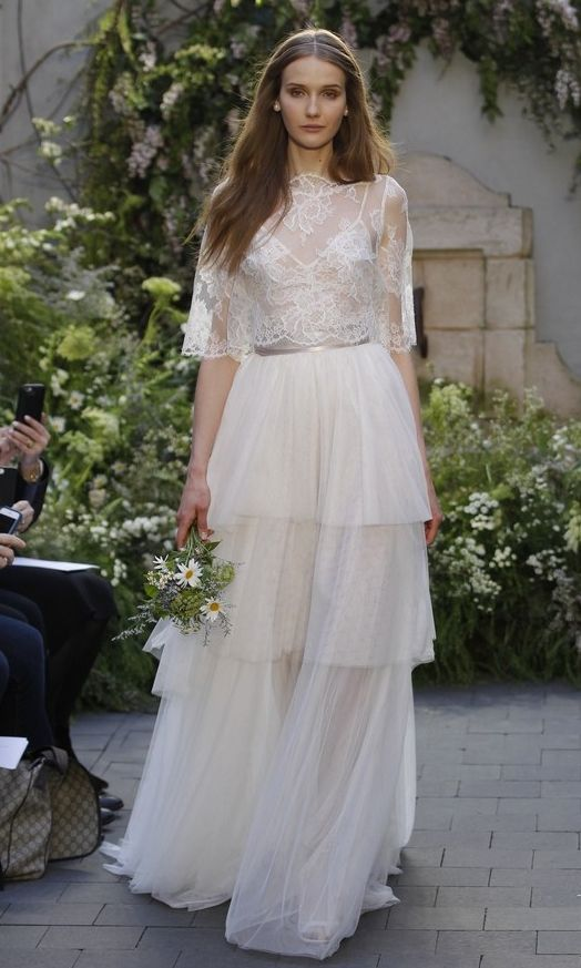 Simple  ethereal Monique Lhuillier wedding dresses and wedding jumpsuits from her new bridal collection