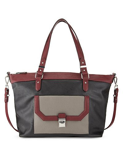 Marks & Spencers - Mink Mix Double Handle Front Pocket Tote Bag Clothing