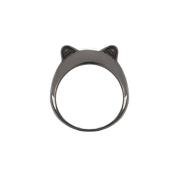 Black Rhodium Plated Kitty Ears Simple Silver Ring.