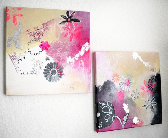 2 parts original small abstract paintings modern by ARTbyKirsten