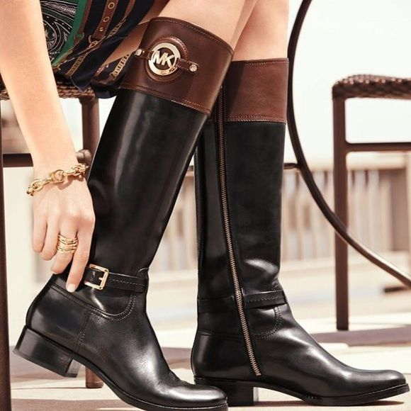 Michael Kors 2 tone Stockard Riding Boots Gorgeous Boots!! An all around fave. Despite the small scuff on heel and scuffing around toes they look great!! With some leather conditioning and Shoe polish they are sure to be a hit! Michael Kors Shoes