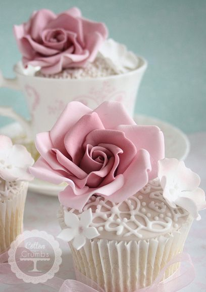 Piped Lace Rose Cupcakes would make an ideal tea accompaniment.