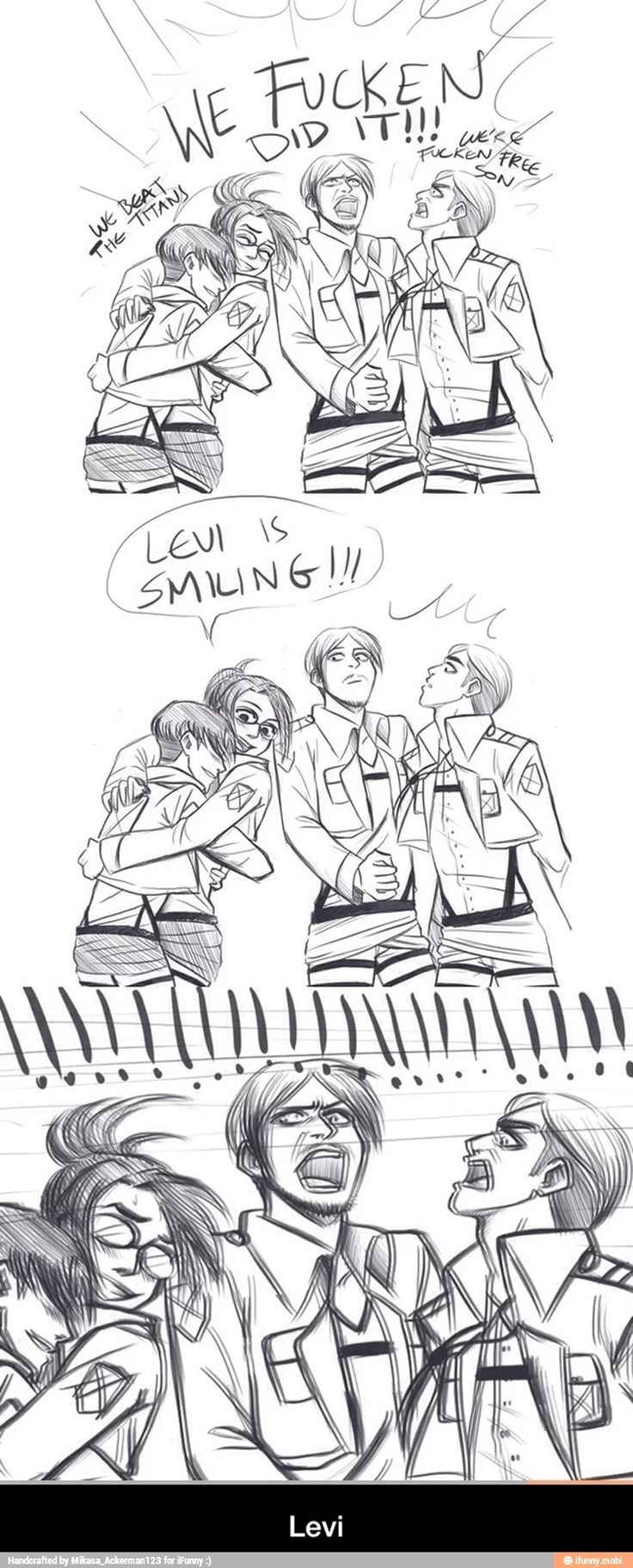 Levi smiling is more exciting than exterminating the Titans.