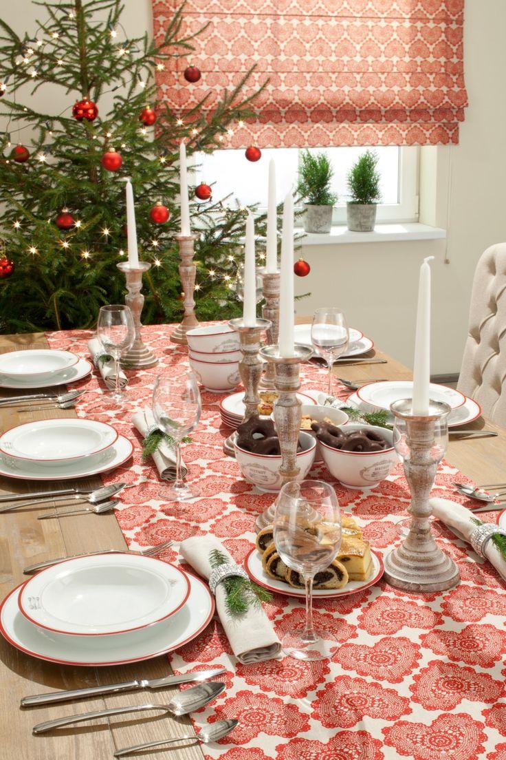 Dekoracja stołu świątecznego - bieżnik http://www.dekoria.pl/offer/fabrics_collection/62/Kolekcja-Christmas